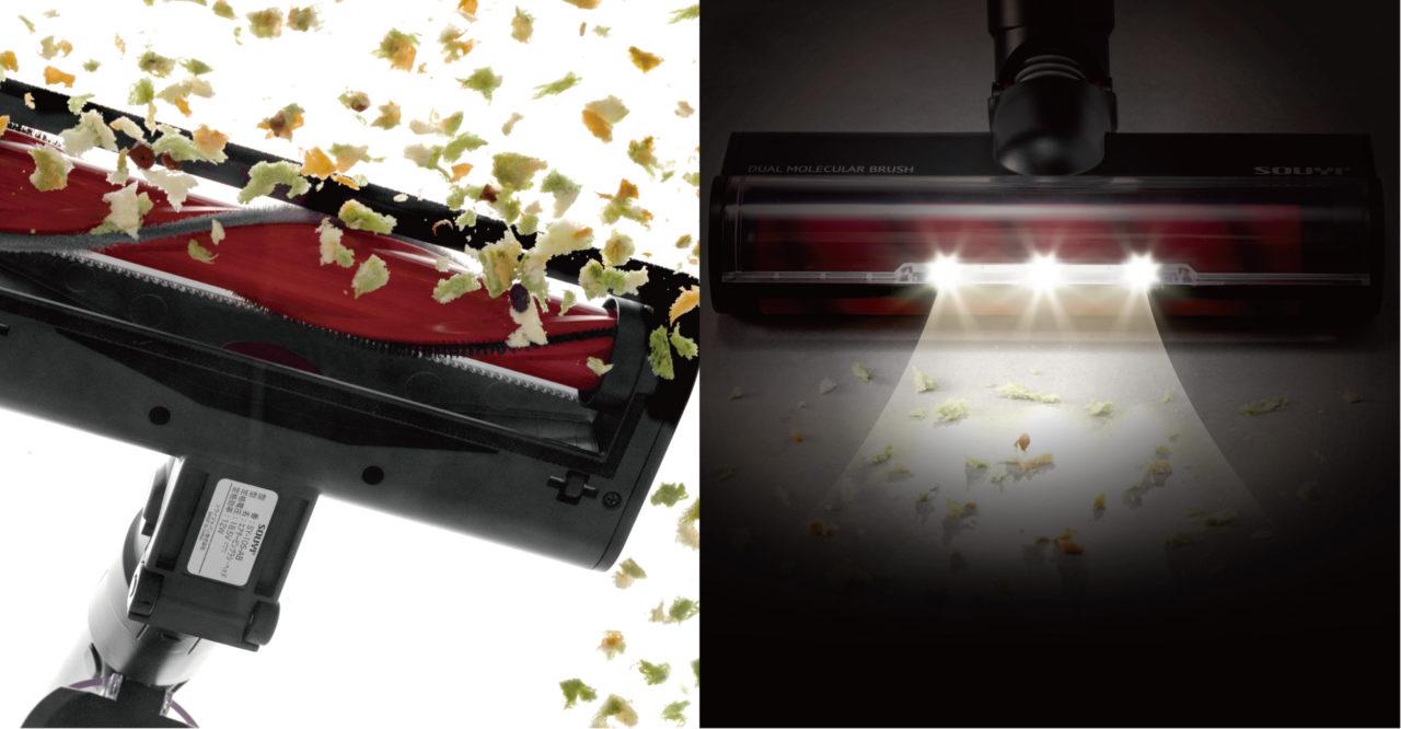 コードレスクリーナー ヘッドモーター ヘッド LED ライト  ヘッドライト 明るい 光 吸引力 ヘッドブラシ SY-105