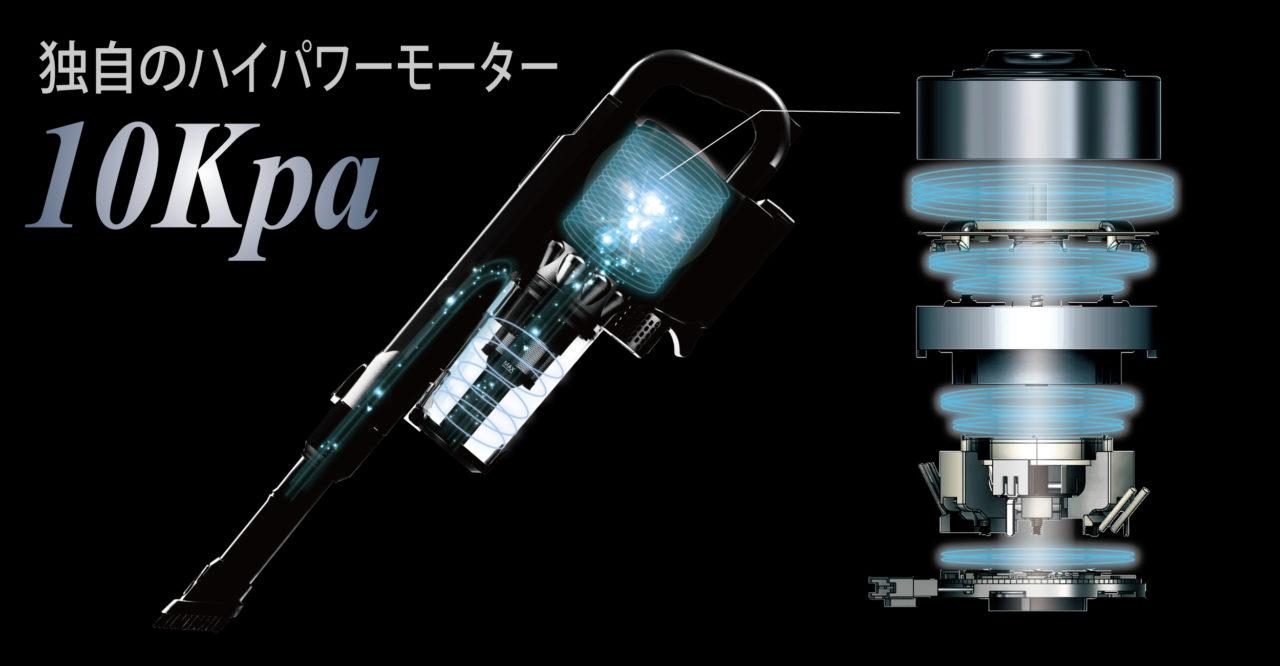 コードレスクリーナー 高吸引力 10Kpa ハイパワー モーター 独自 モーター 10000pa 高性能 重量 静音 65dB 2段階 強弱 SY-105